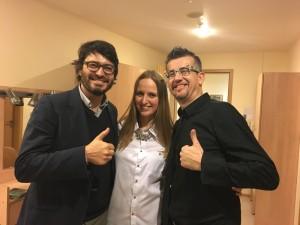 На фото: Арт-директор «NovaraJazz» Коррадо Бельди, директор группы «Feelin's» Юлия Апрель и вокалист «ЕсенинJazz» Борис Саволделли
